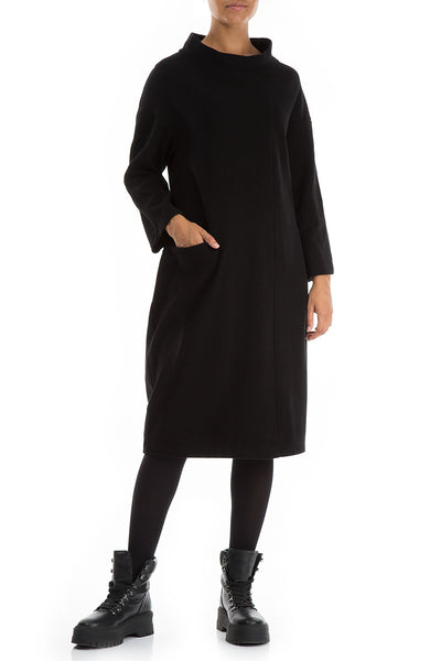 High Neck Black Jersey Cotton Dress