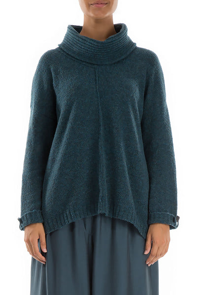 High Neck Blue Wool Sweater