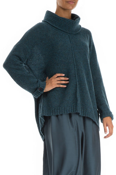 High Neck Blue Emerald Wool Sweater