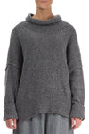 High Neck Cosy Grey Wool Sweater