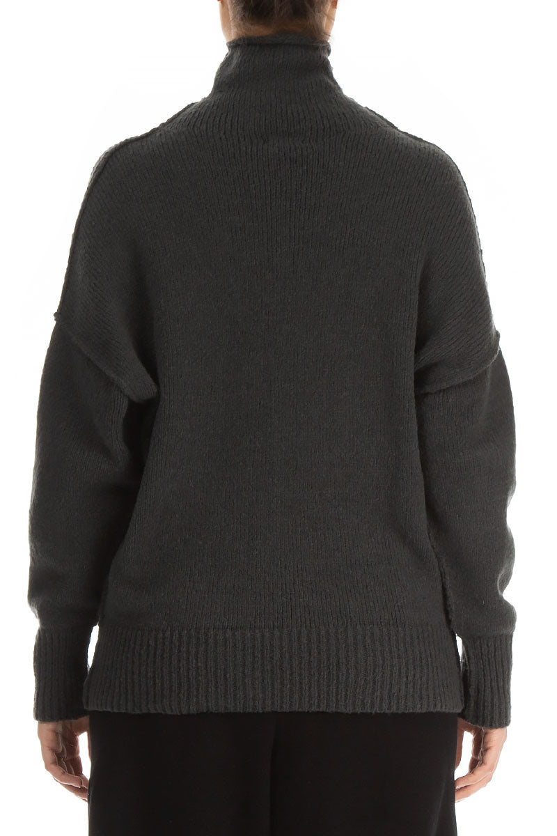 High Neck Dark Grey Wool Sweater