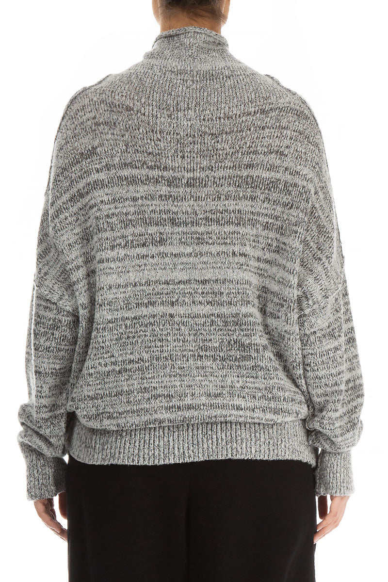 High Neck Melange Grey Wool Sweater