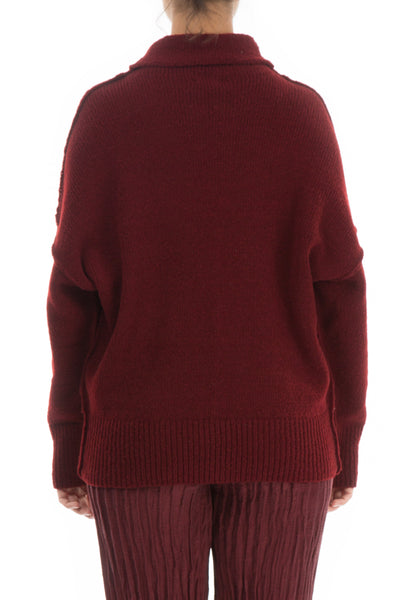High Neck Cosy Burgundy Wool Sweater - GRIZAS | Natural Contemporary Womenswear
