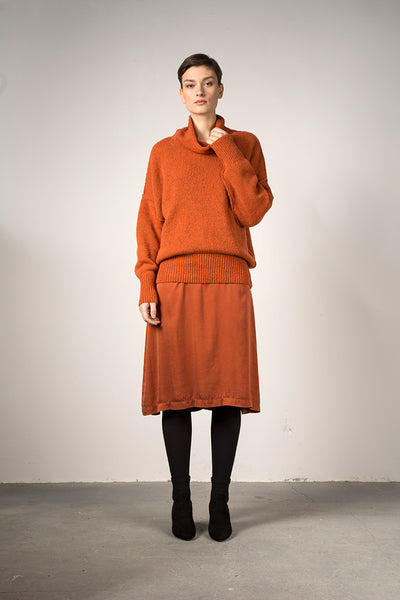 High Neck Cosy Saffron Wool Sweater - GRIZAS | Natural Contemporary Womenswear