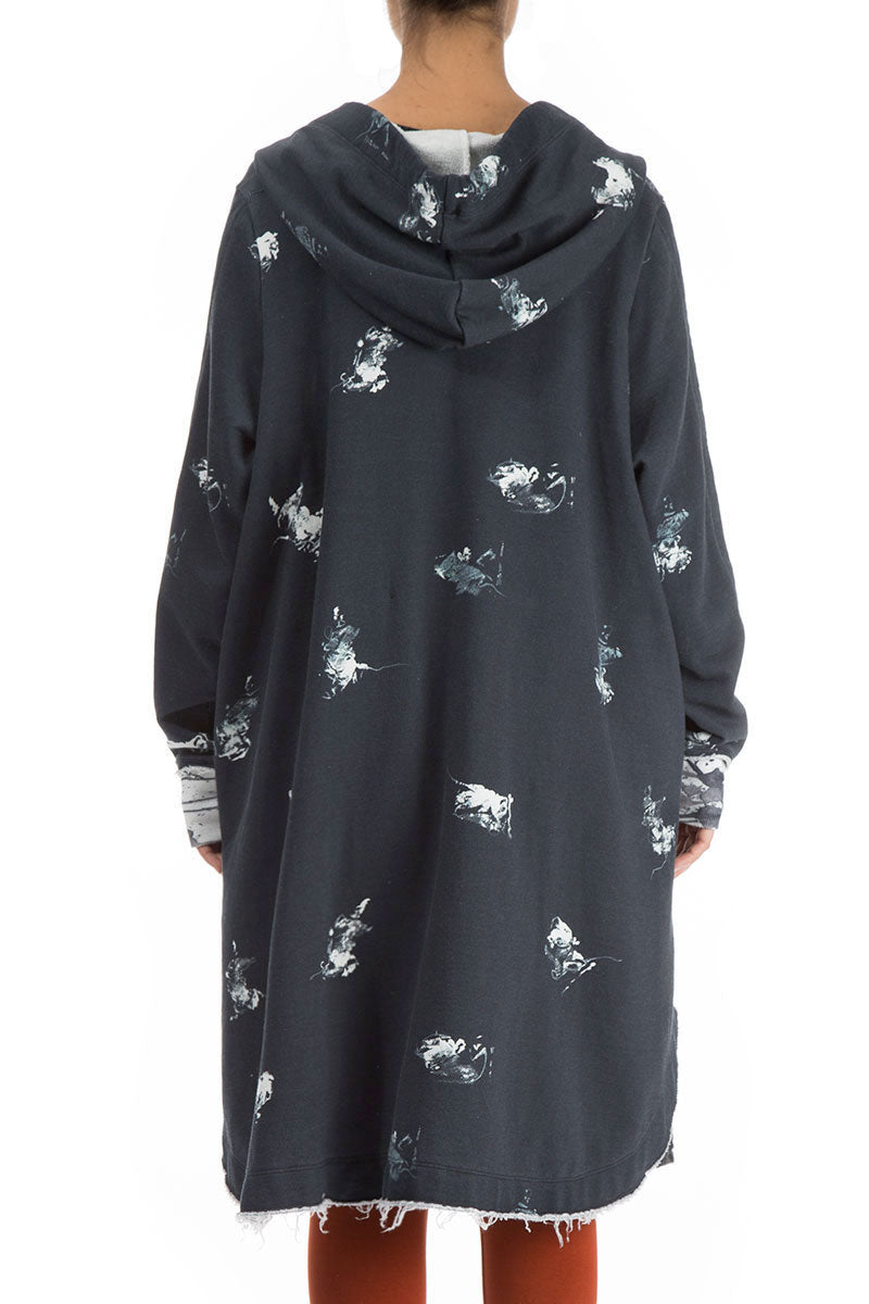 Hooded Oversized Abstract Print Jacket-Coat
