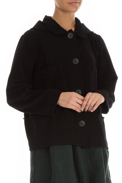 Hooded Buttoned Black Cotton Jacket