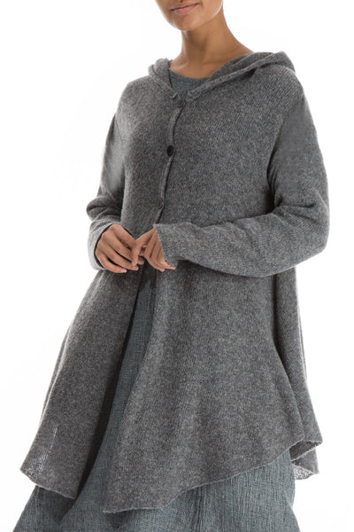 Hooded Grey Wool Sweater