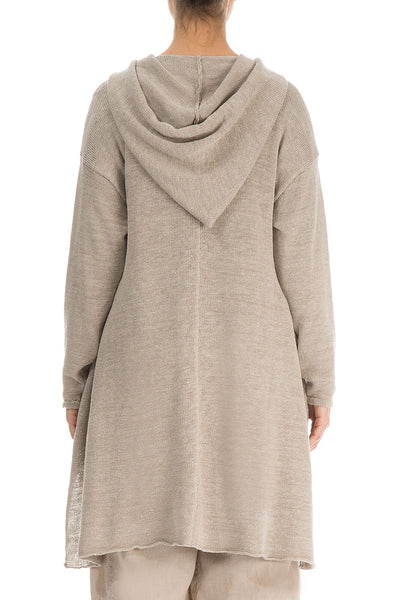 Hooded Natural Linen Cardigan