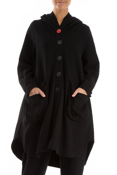 Hooded Oversized Black Jacket-Coat
