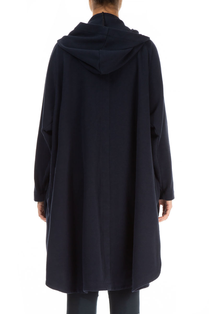 Hooded Oversized Dark Blue Jacket-Coat