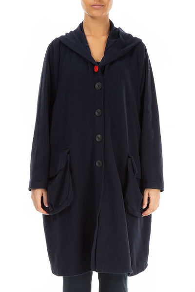 Hooded Oversized Dark Blue Cotton Jacket-Coat