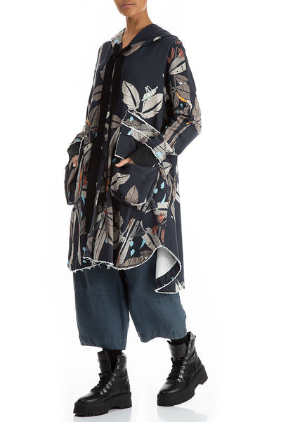Hooded Oversized Leaves Print Jacket-Coat
