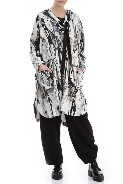 Hooded Rain Print Cotton Jacket-Coat
