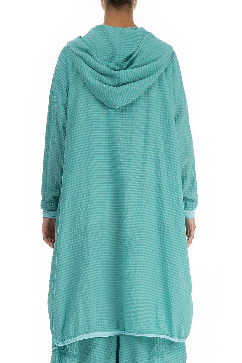 Hooded Subtly Checkered Aqua Green Silk Jacket
