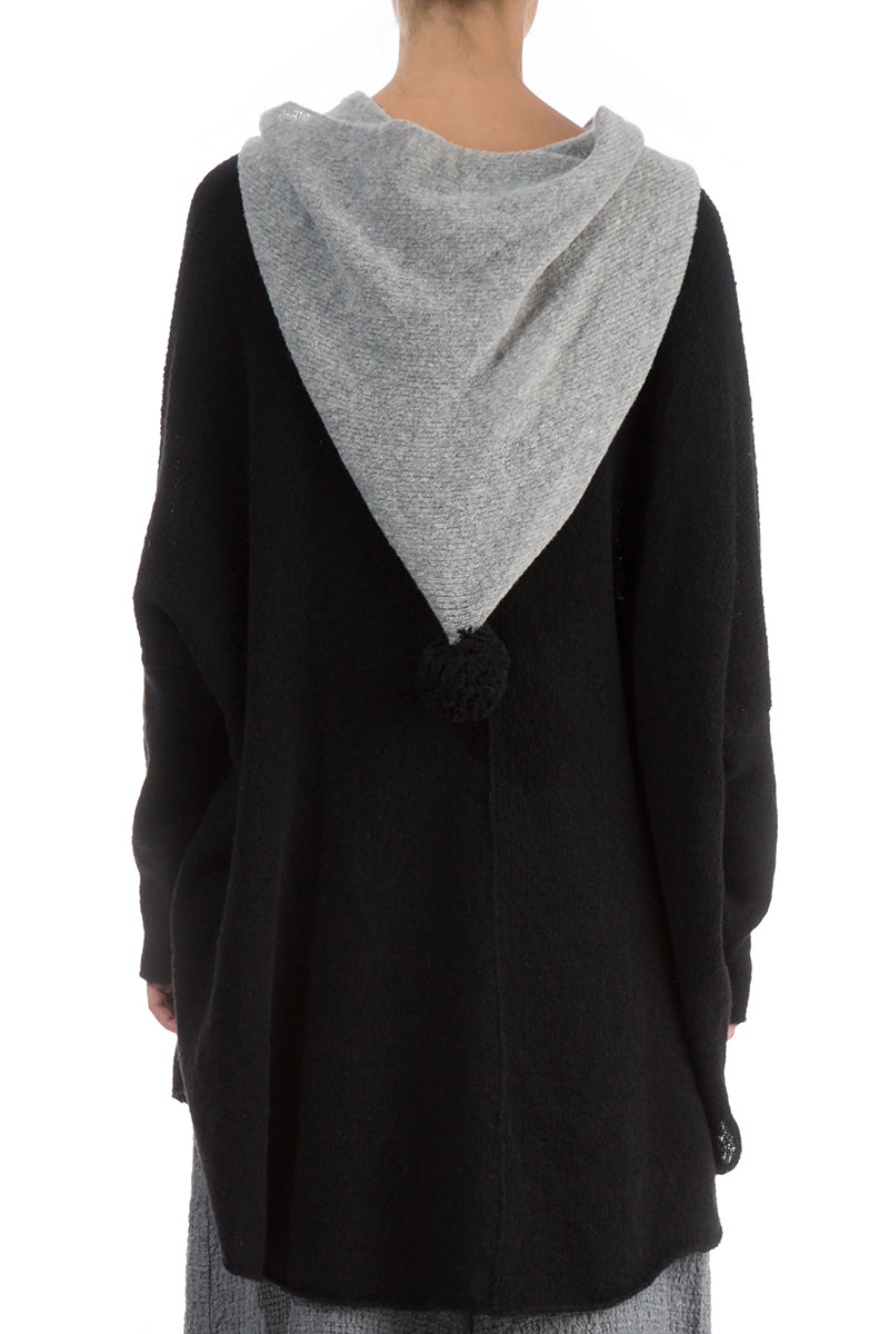 Hooded Boxy Black Wool Sweater - GRIZAS | Natural Contemporary Womenswear