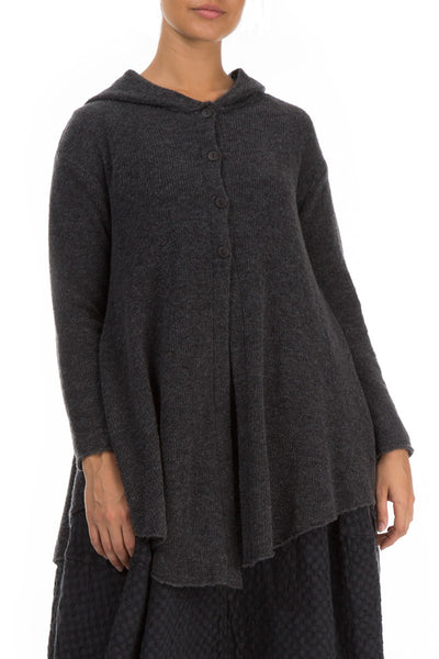 Hooded Dark Grey Wool Sweater - GRIZAS | Natural Contemporary Womenswear