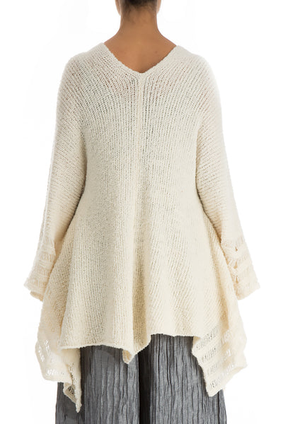Ivory Flared Wool Cotton Cardigan