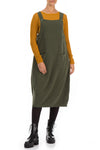 Khaki Cotton Jersey Balloon Overall Dress