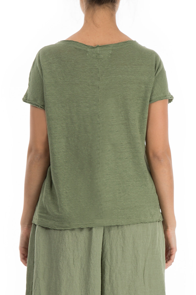 Khaki Thin Linen Top - GRIZAS | Natural Contemporary Womenswear