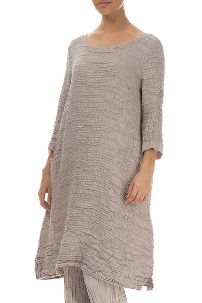 Knee Length Crinkled Cappuccino Silk Linen Tunic