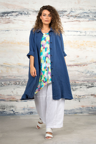 Blue Iris Linen Shirt - Jacket