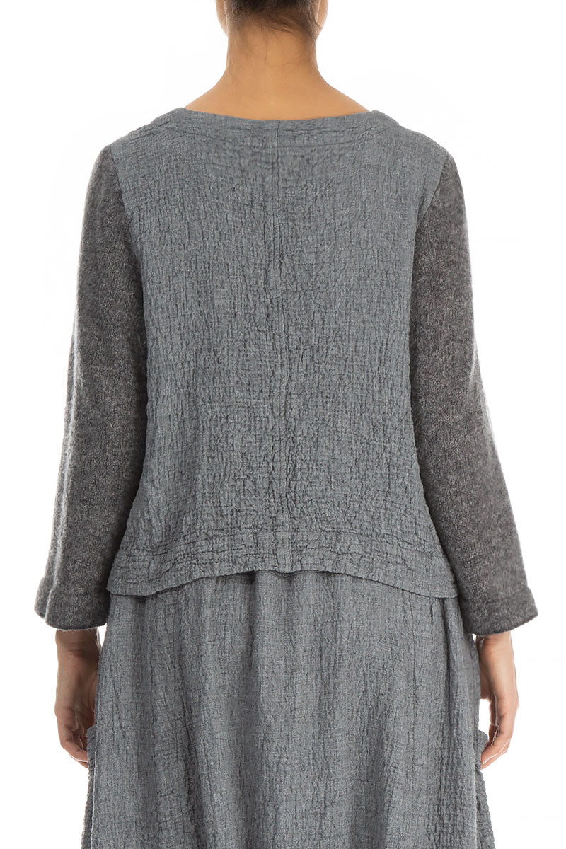 Knitted Sleeves Grey Wool Jumper