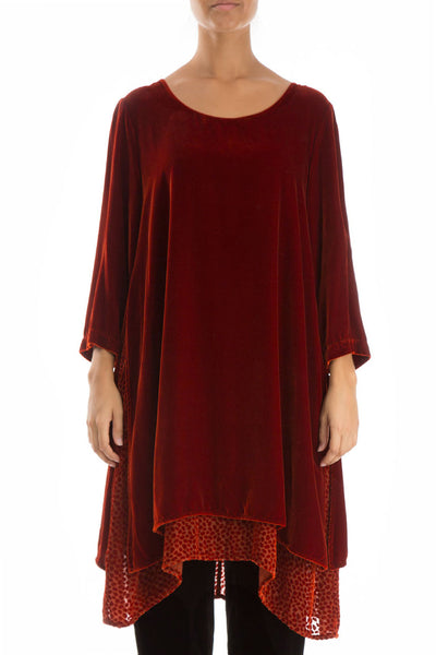 Layered Rust Silk Velvet Tunic
