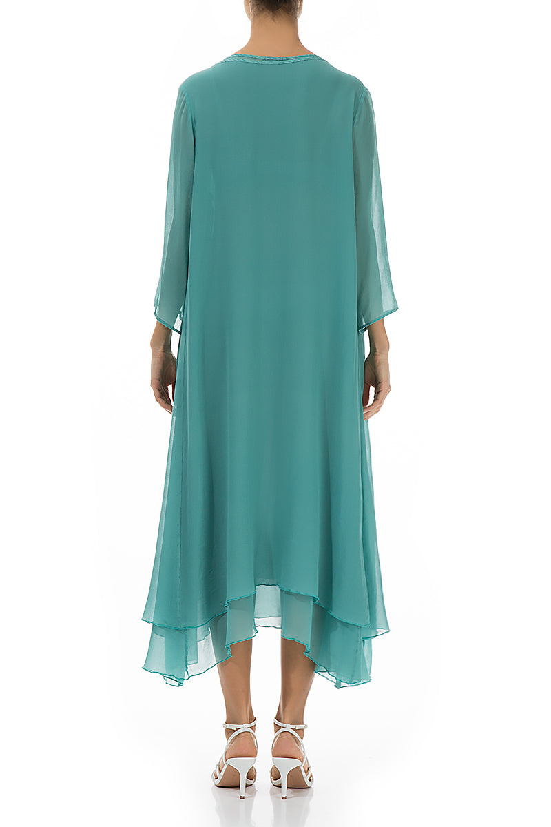 Layered Aqua Green Silk Dress