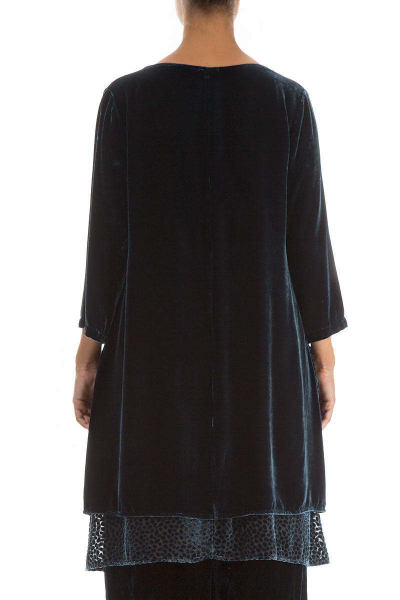 Layered Brass Blue Silk Velvet Tunic