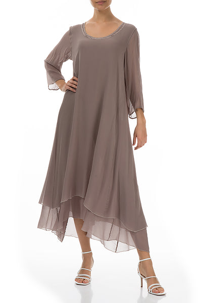Layered Cappuccino Silk Dress