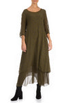 Layered Dotty Khaki Silk Dress