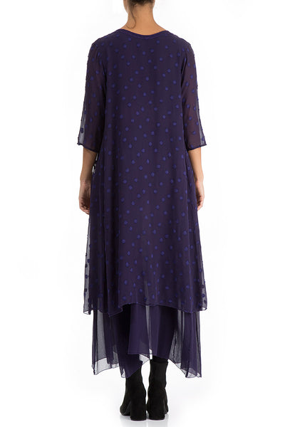 Layered Dotty Royal Purple Silk Dress