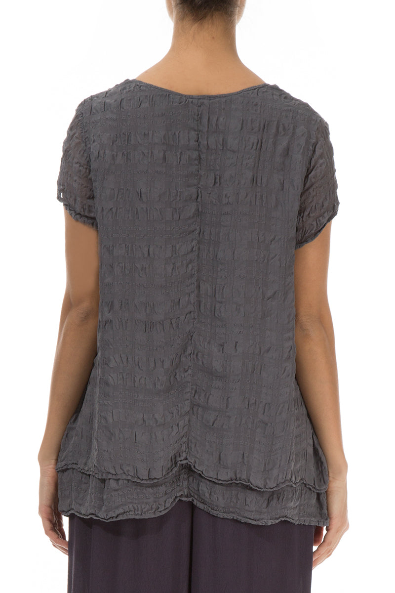Layered Graphite Light Silk Blouse