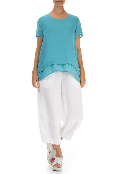 Layered Sky Blue Linen Blouse - GRIZAS | Natural Contemporary Womenswear