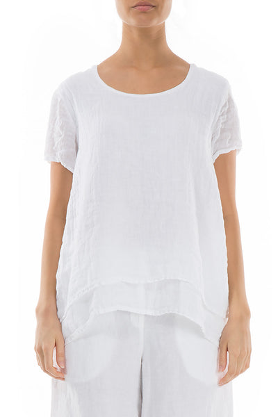 Layered White Linen Blouse - GRIZAS | Natural Contemporary Womenswear