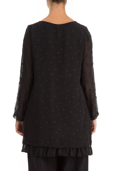 Layered Dotty Black Silk Blouse - GRIZAS | Natural Contemporary Womenswear
