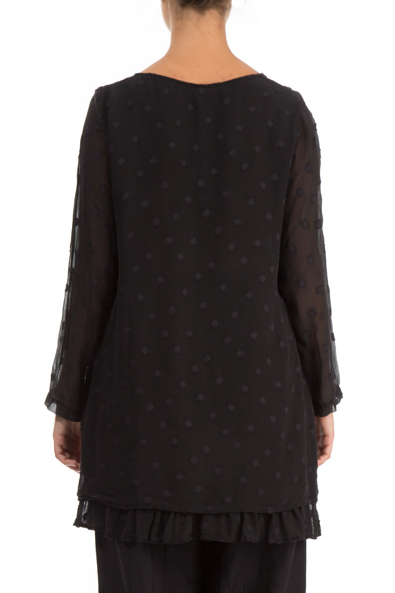 Layered Dotty Black Silk Blouse