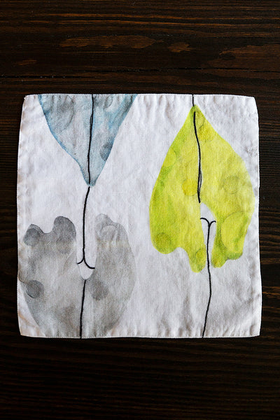 Leaf Print Linen Table Napkins
