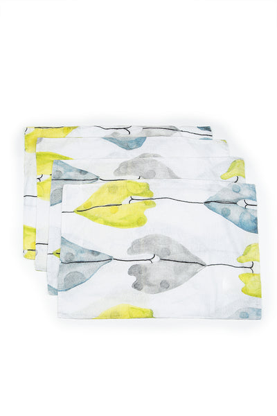 Leaf Print Linen Table Placemats