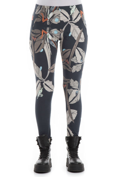 Leaves Print Cotton Leggings