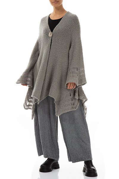 Light Grey Flared Wool Cotton Cardigan