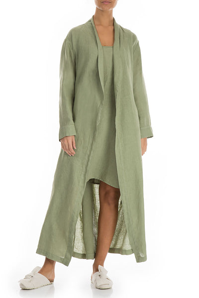 Olive Pure Linen Bathrobe