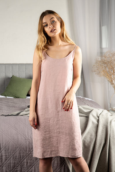 Antique Rose Linen Night Dress