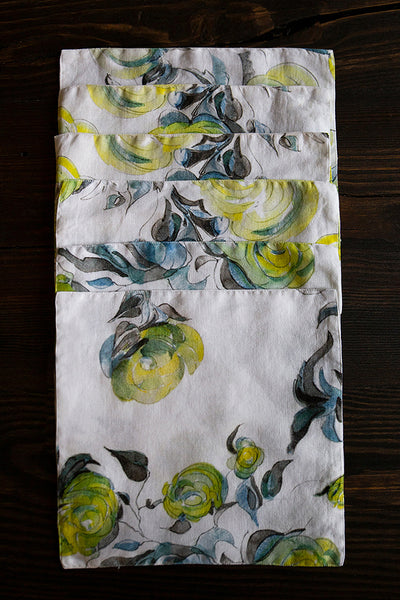 Lime Rose Print Linen Table Napkins