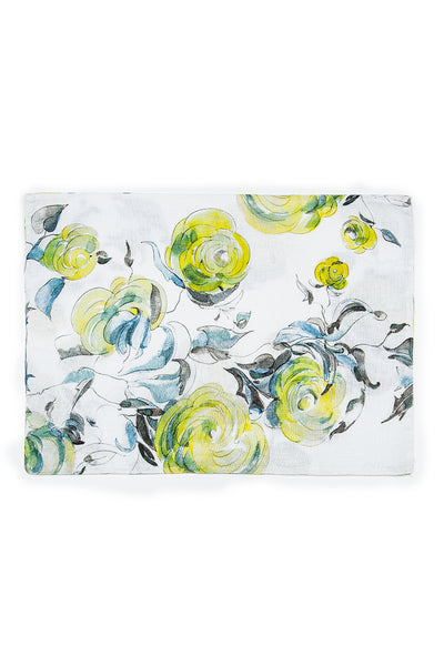 Lime Rose Print Linen Table Placemats