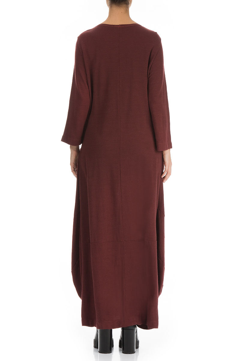 Long Balloon Burgundy Wool Dress