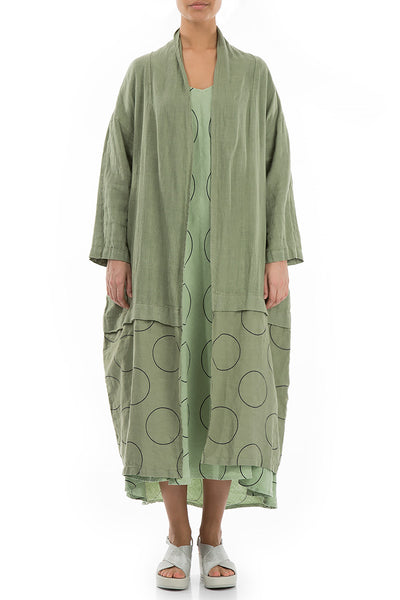 Long Circles Print Mint Linen Jacket - GRIZAS | Natural Contemporary Womenswear