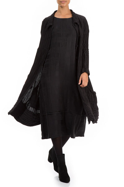 Long Crinkled Black Silk Jacket