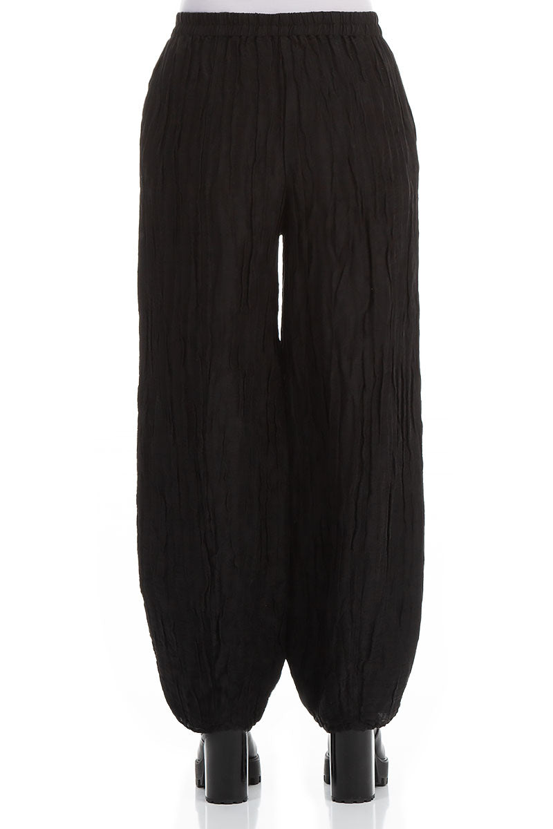Long Crinkled Black Trousers