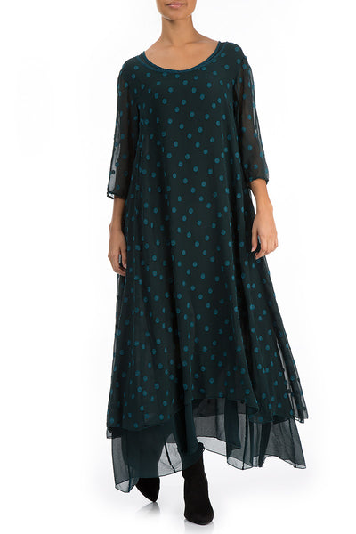 Long Dotty Dark Teal Silk Dress